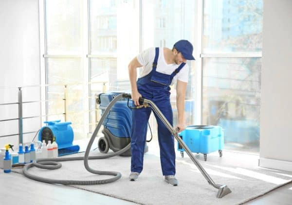 Dry cleaner's employee removing dirt from carpet in flat