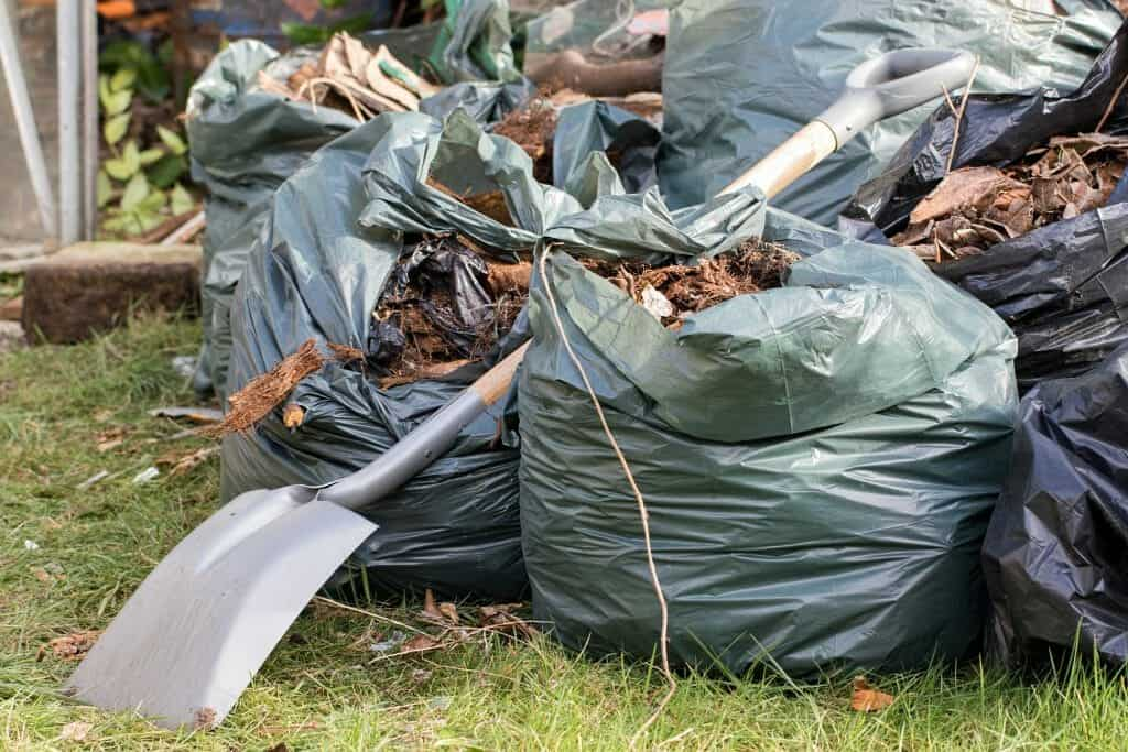 Garden waste. Brown leaves and rubbish collected from gardening tidy.