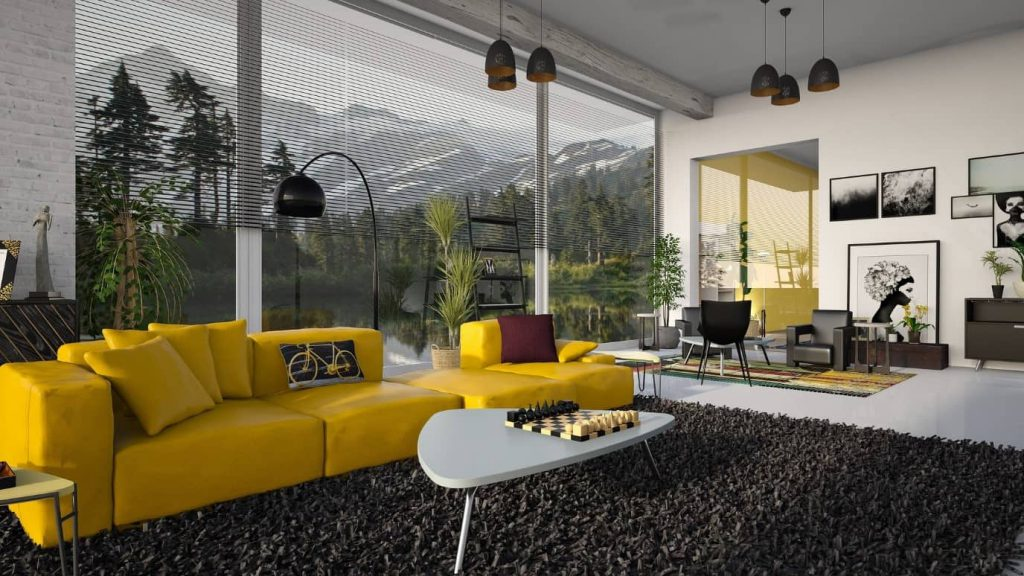 Computer generated living room picture with yellow sofa