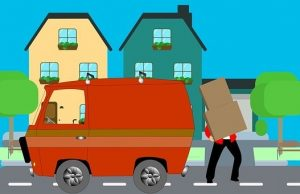 cartoon graphic of van and man holding boxes