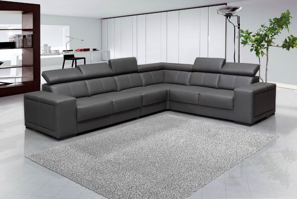 Large L Shaped Grey Sofa with grey rug