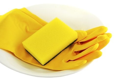 Yellow gloves with sponge